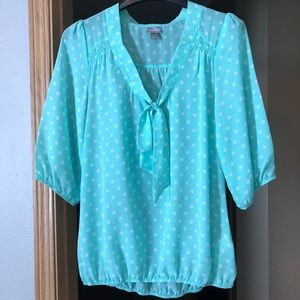 Mint Green and White Polka Dot Tie Blouse